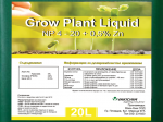 Обява Тор GROW PLANT Liquid NP 4 – 20 + 0, 5% ZN, 20 л